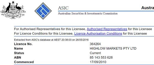 ハイローオーストラリア_オーストラリア金融ライセンス