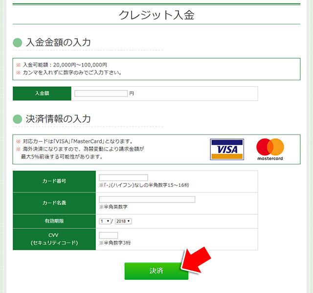 カード情報の入力と入金