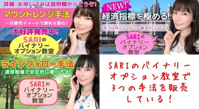 現在も「SARIのバイナリー教室」で3つの手法を販売している