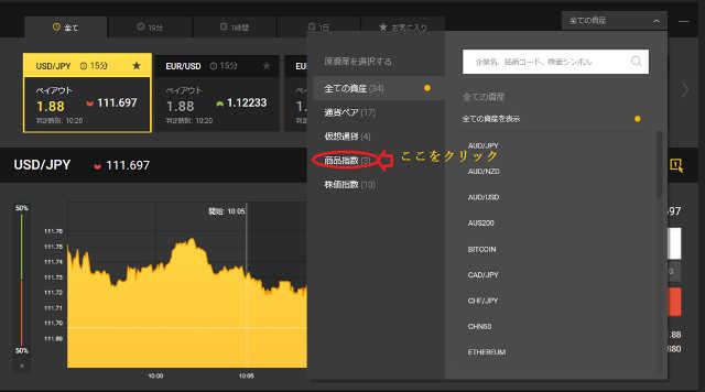 GOLD(ゴールド)の取引はハイローオーストラリアの「商品指数」から